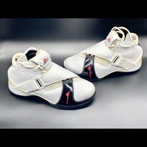 Adidas TMAC 5 White/black/red athletic shoes.